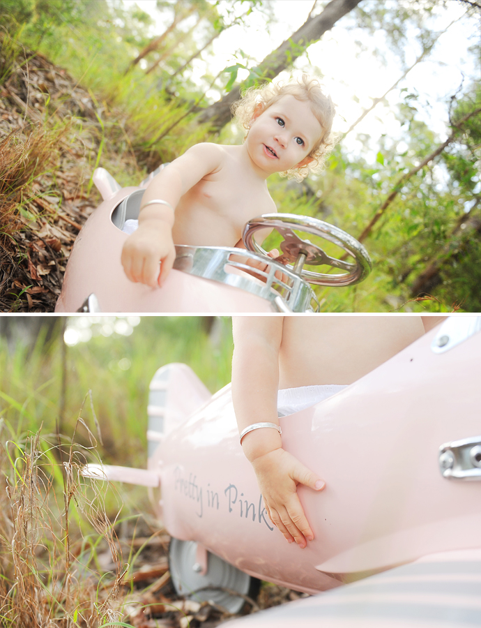 baby in a pedal plane retro vintage style sunflare noosa photography