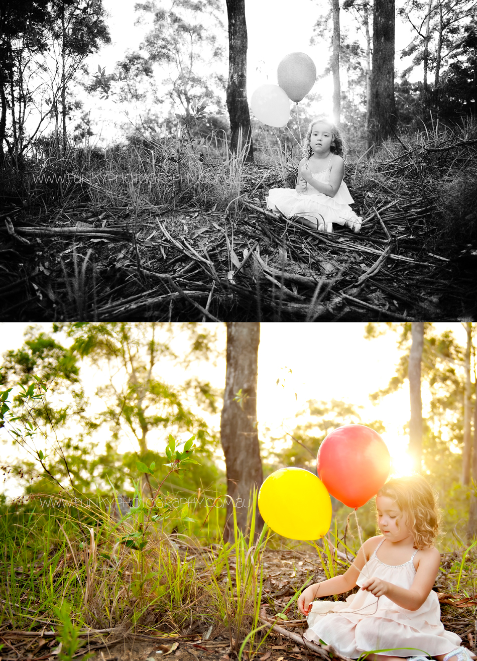 girl with balloons sunlight sunflare in woods