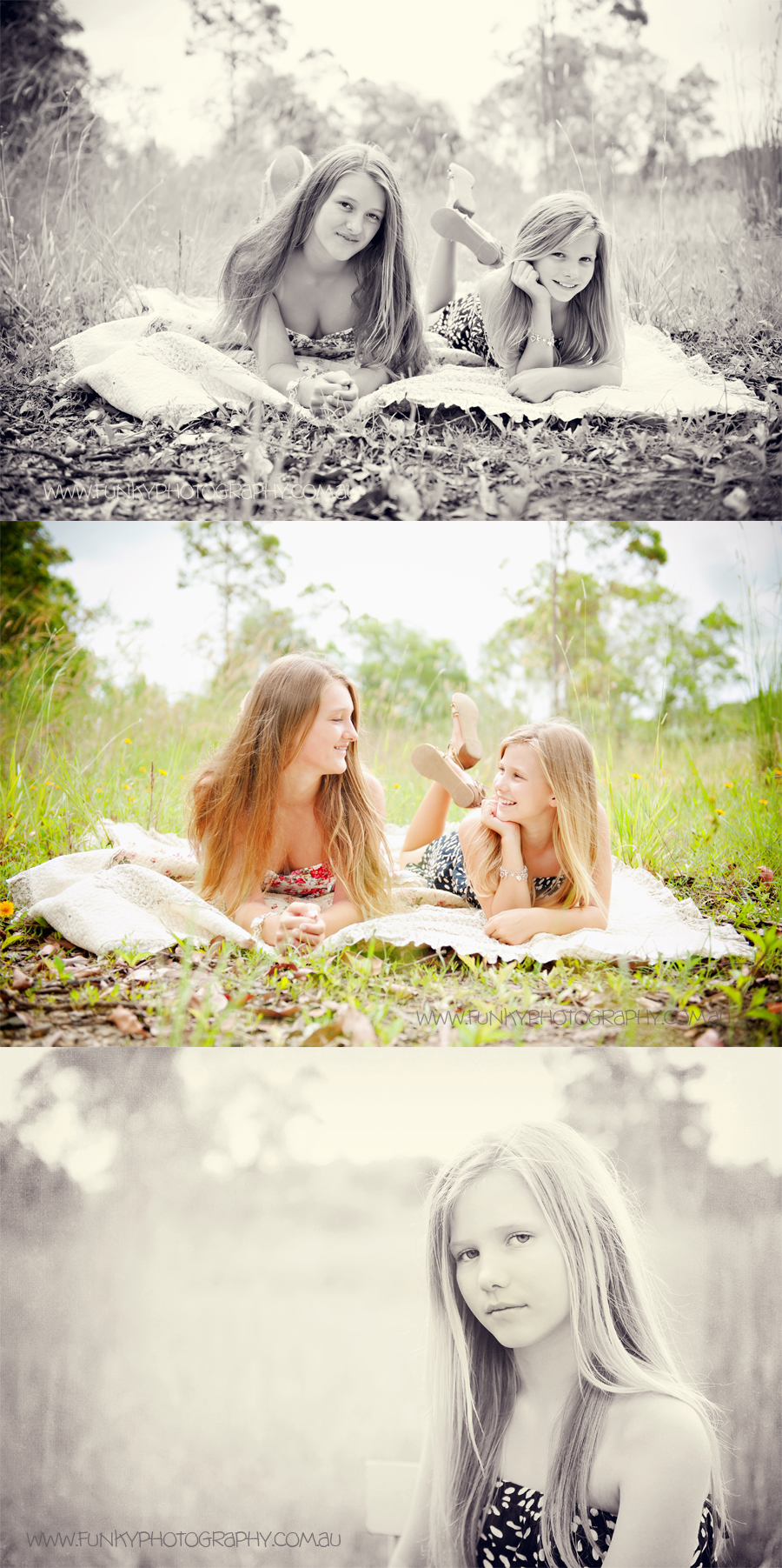 photo shoot of girls in a field with sunlight natural light photography