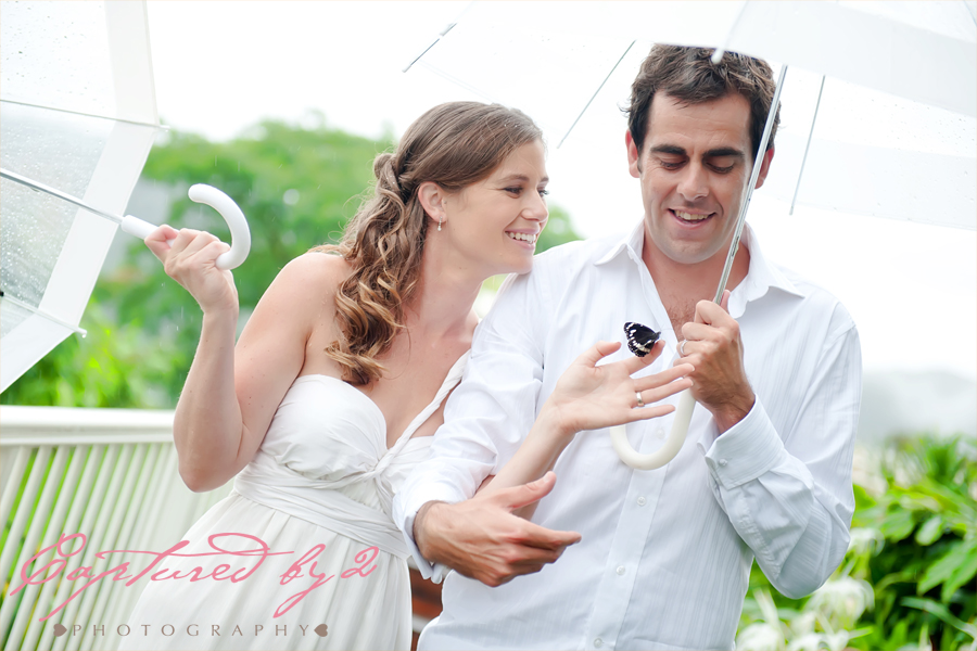 bride and groom with butterfly release brisbane wedding
