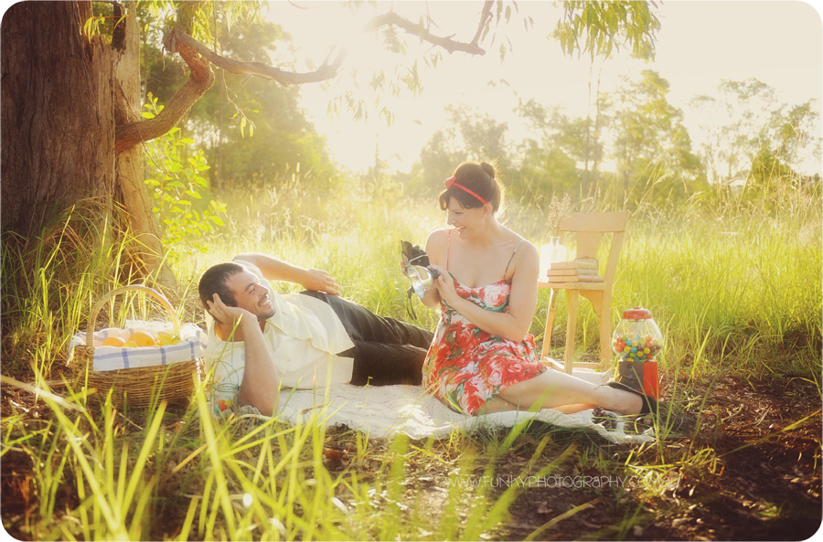 vintage style picnic photography with sunflare backlight
