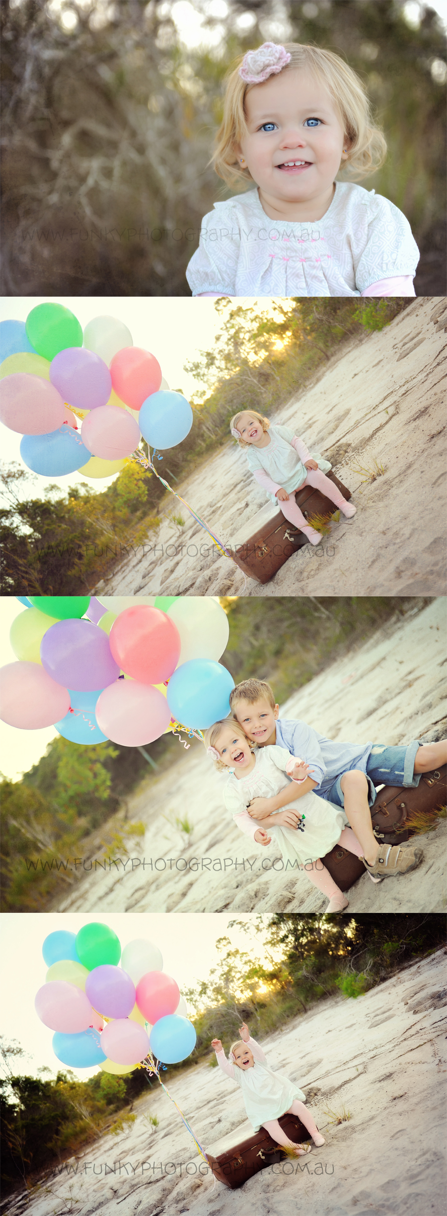 children and balloons vintage style outside