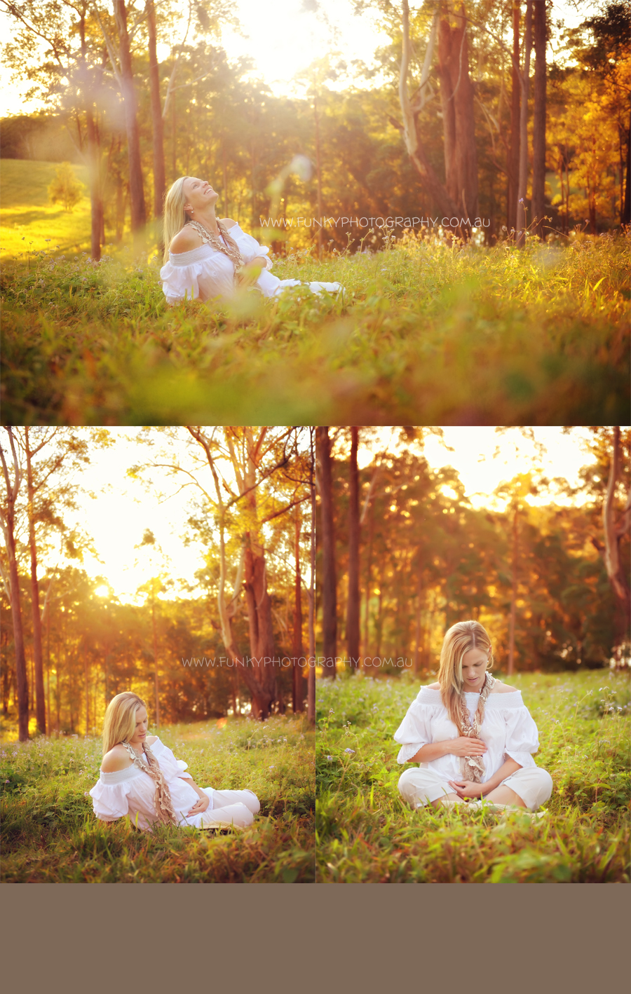 pregnant woman in a field with sunset and sunflare