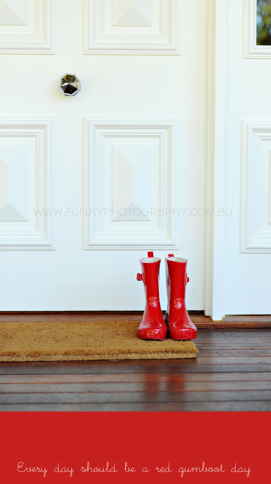 red gum welly boots outside a front door