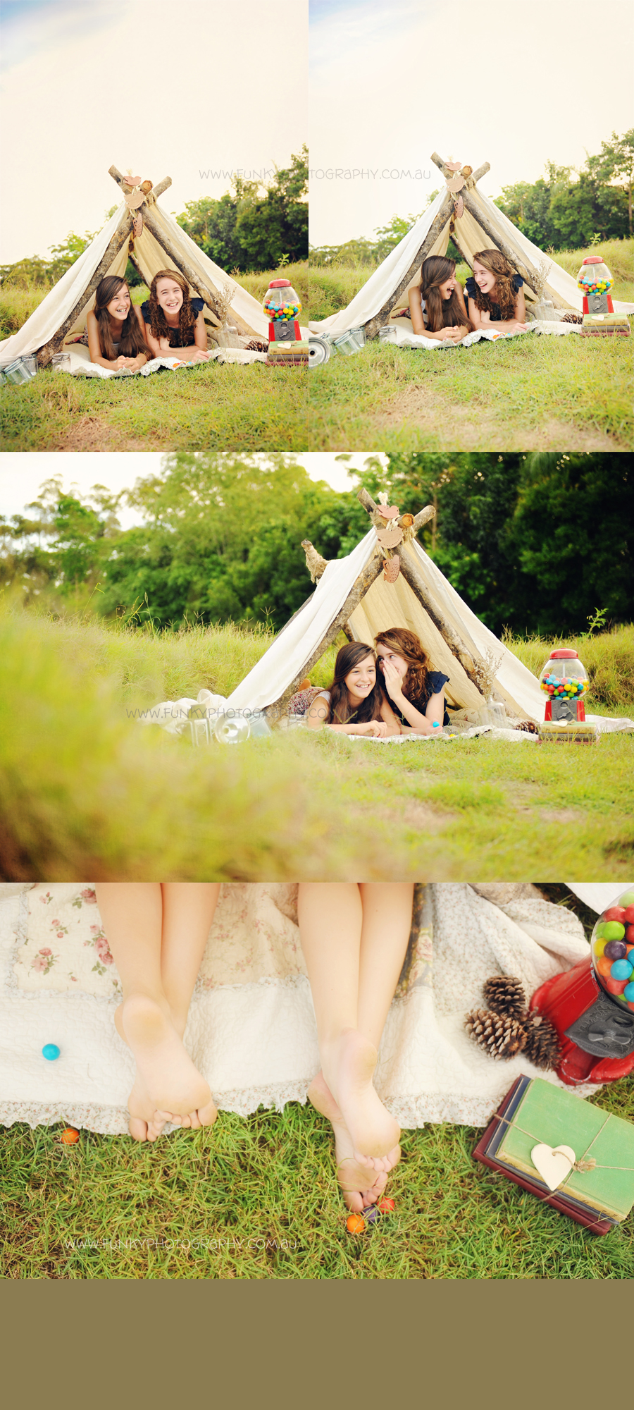 girls in a vintage style tent with gumball machine