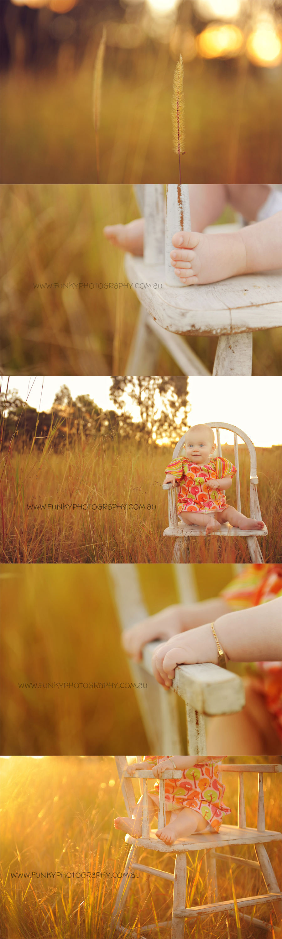 baby in a field with sunflare and sunset