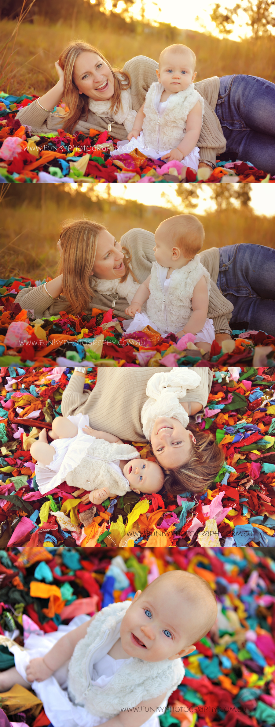 mum and baby cuddles on a brightly colored rug
