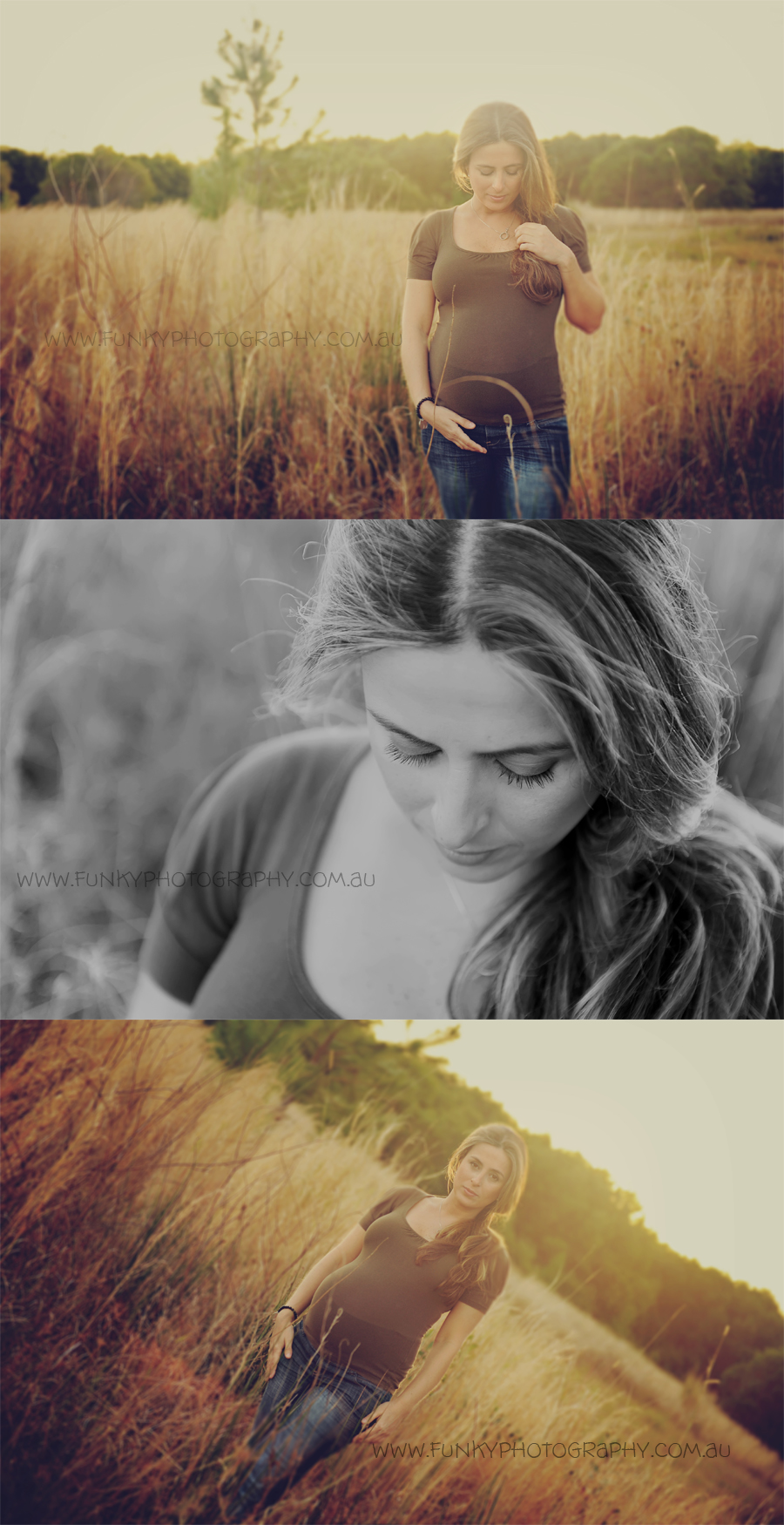 pregnancy photos of a woman in a field vintage styled