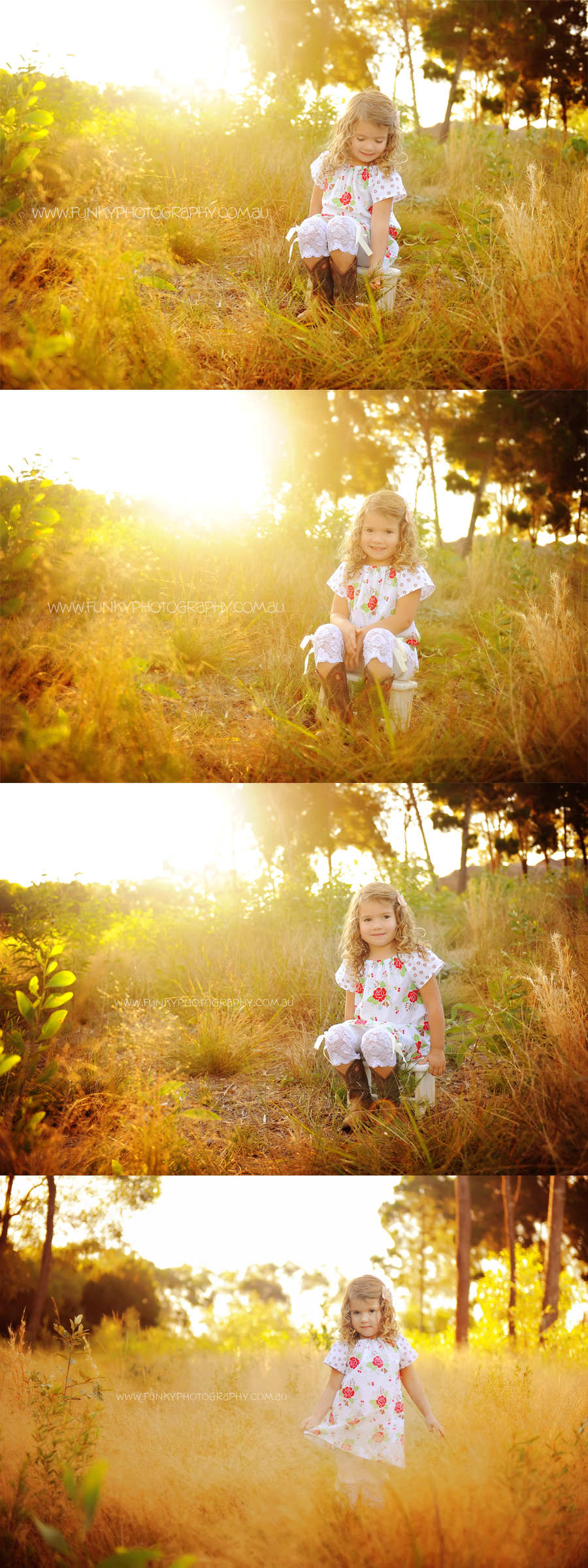 child in a field with sunset