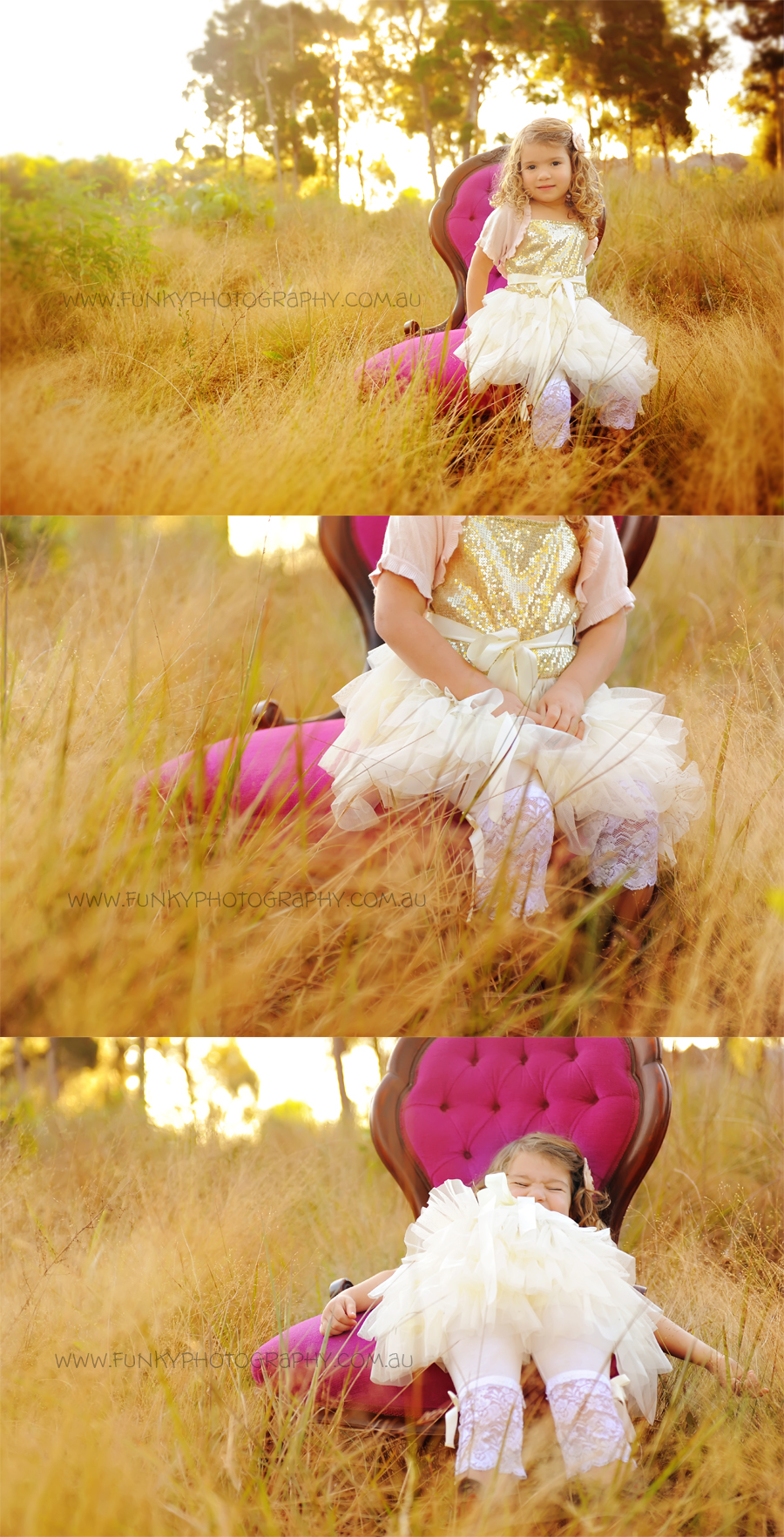 child in tutu sitting on a chair in a field