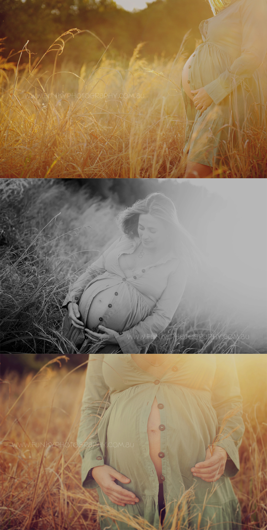 pregnant woman in a field with sunlight sunflare