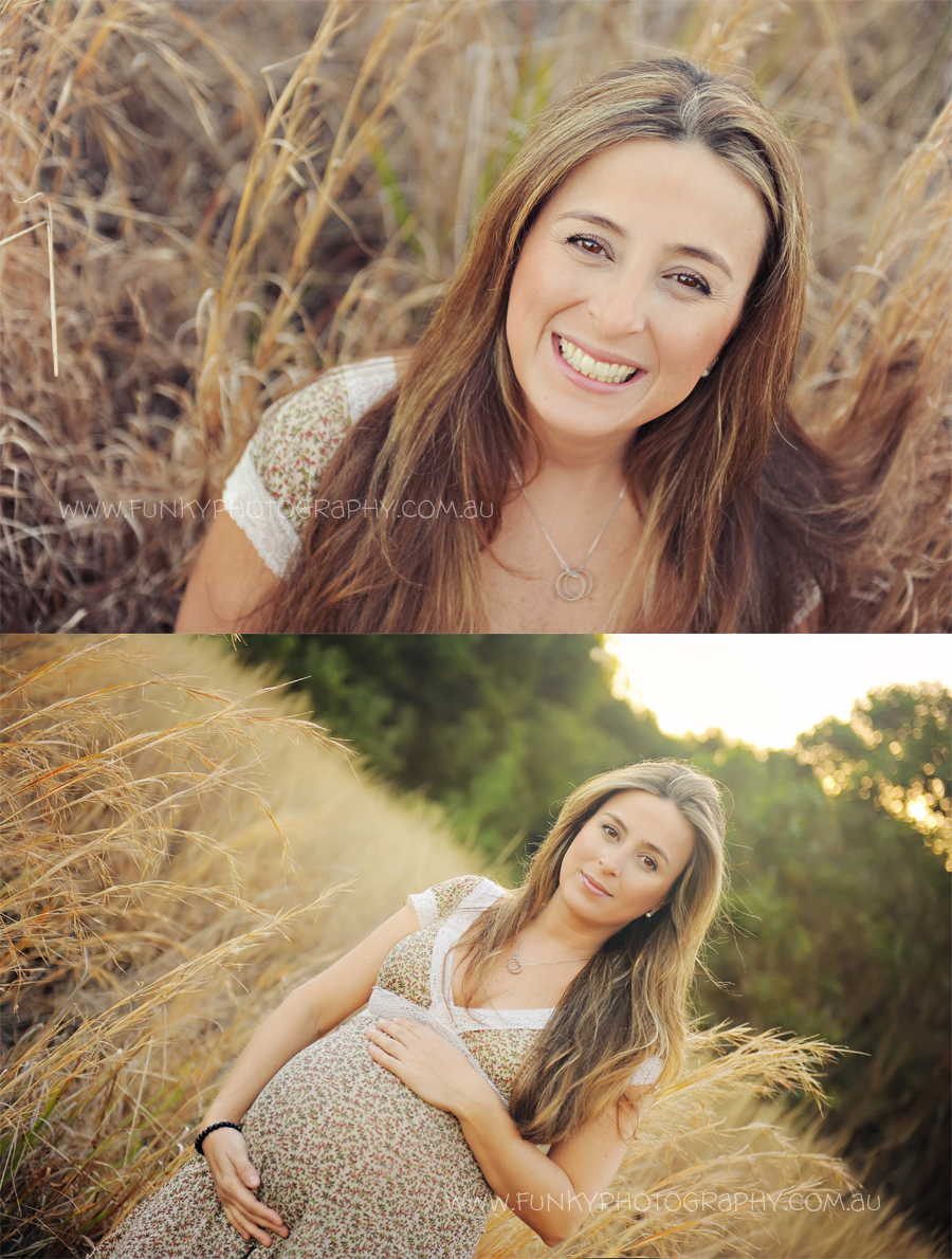 portrait images of a pregnant woman in a field