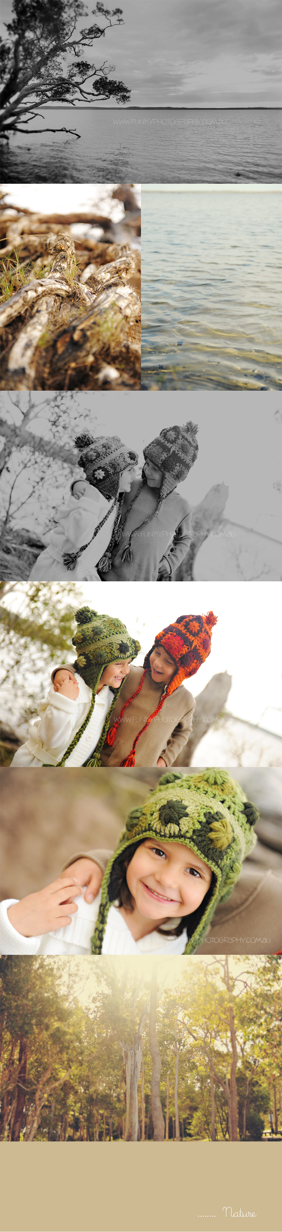 2 children at a picnic laughing in beanies