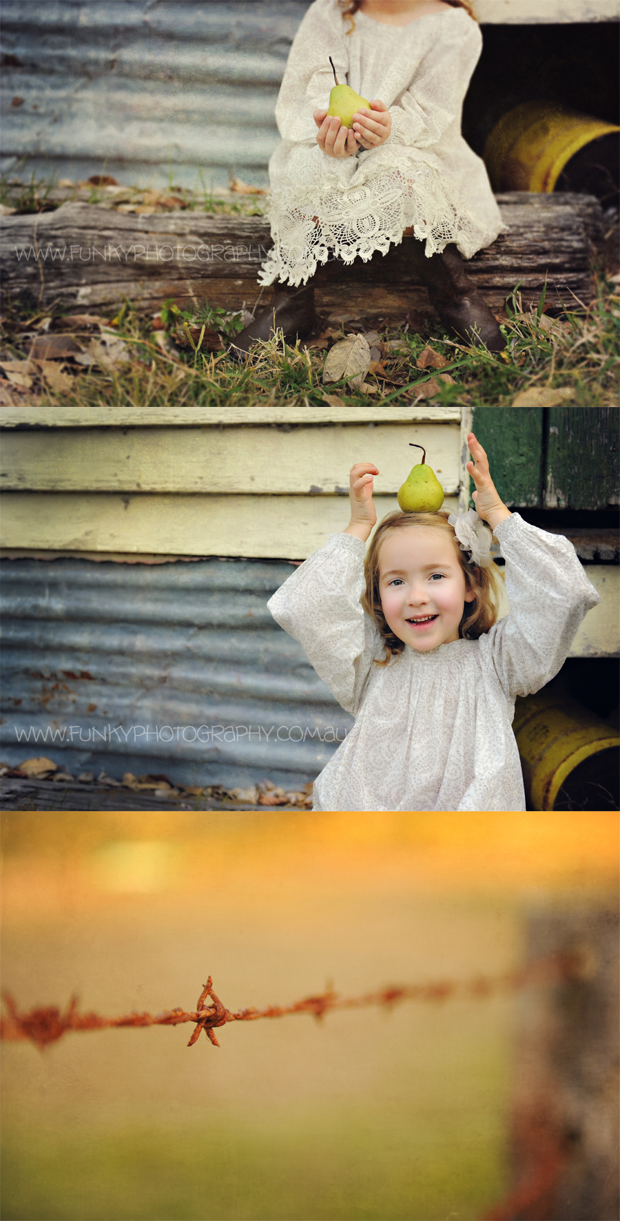 girl with a pear balancing on head and smiling