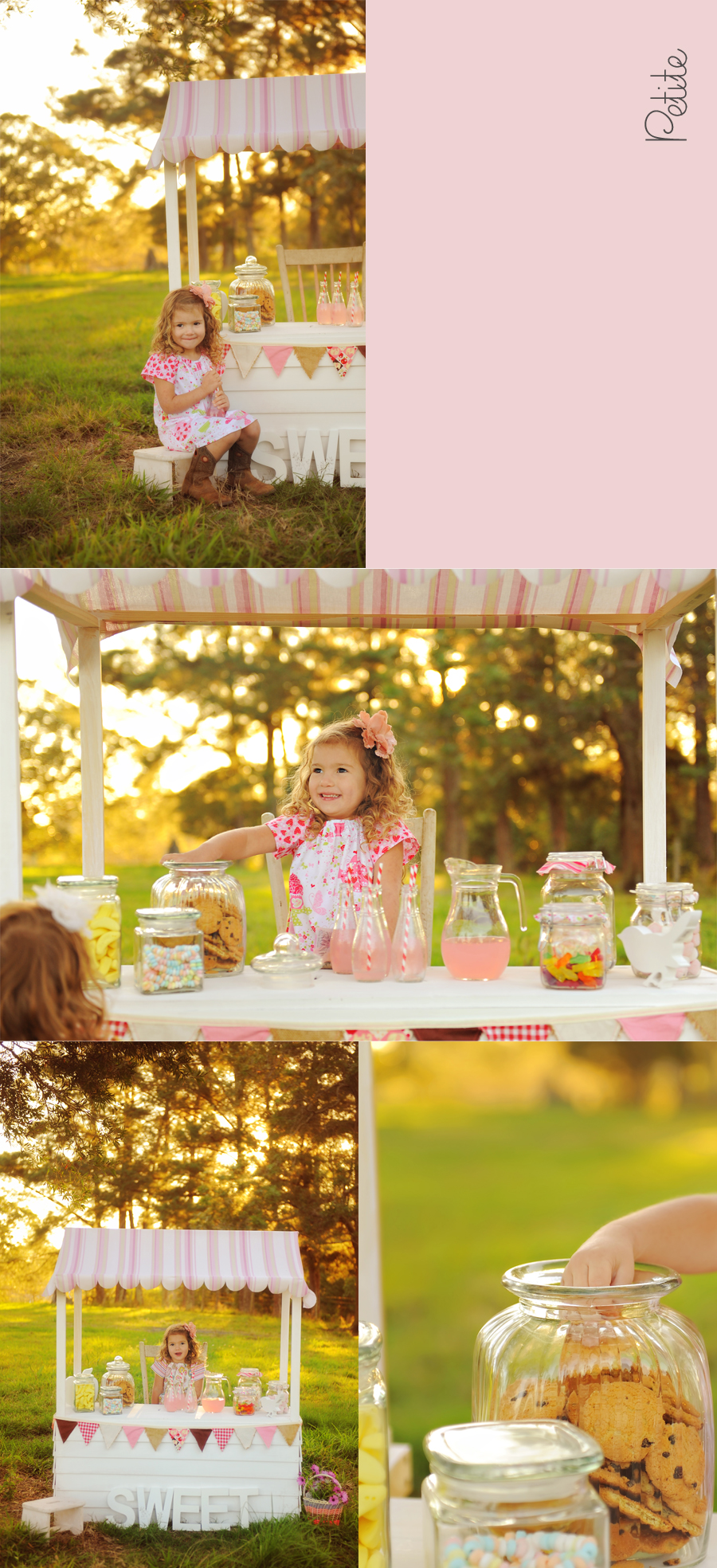 child at a candy stall eating cookies sweet petite clothing