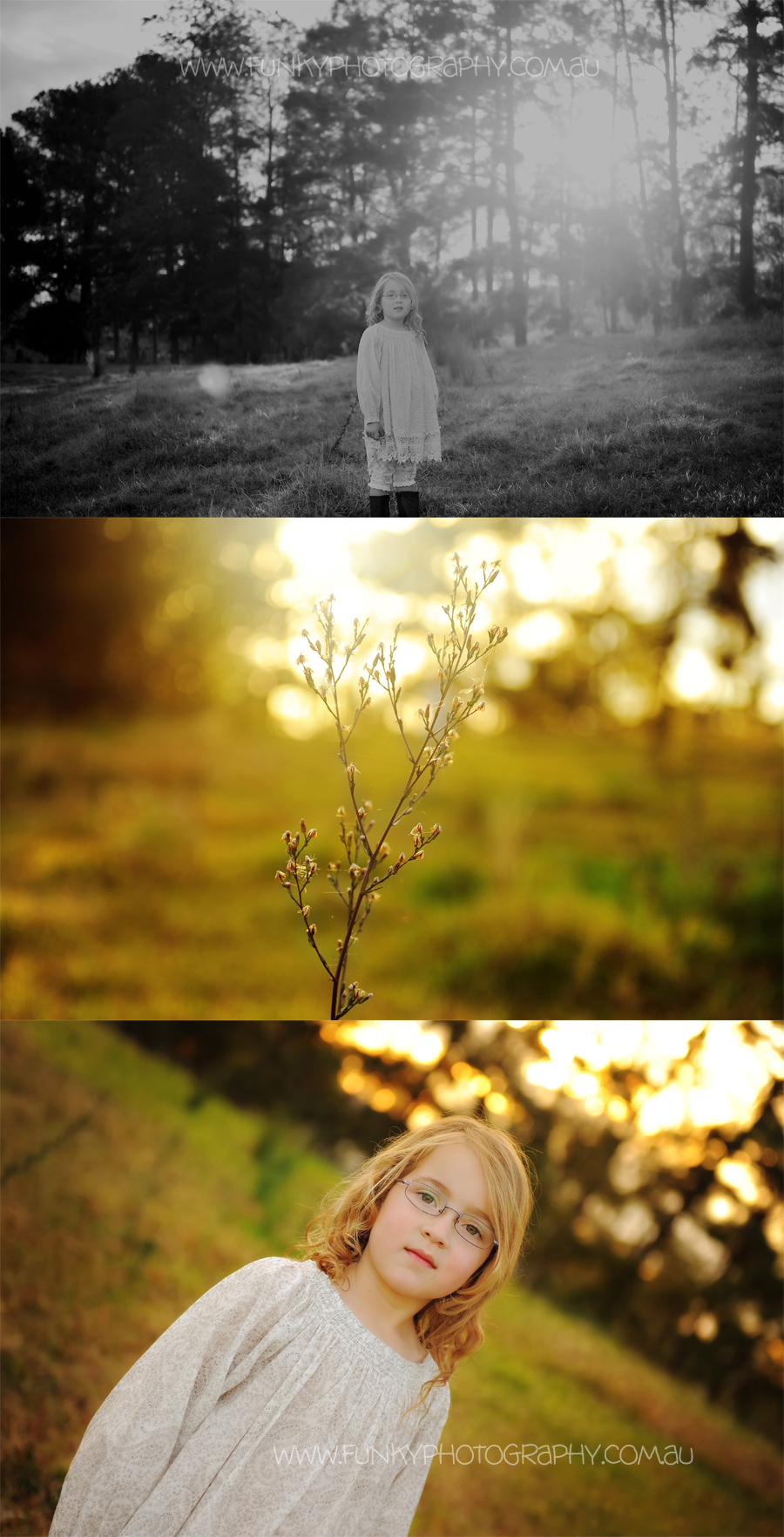 girl in a field with sunlight and sunflare vintage styled