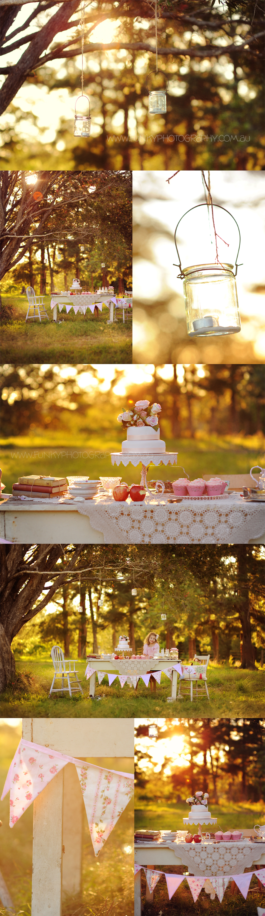a vintage tea party with backlight under a tree