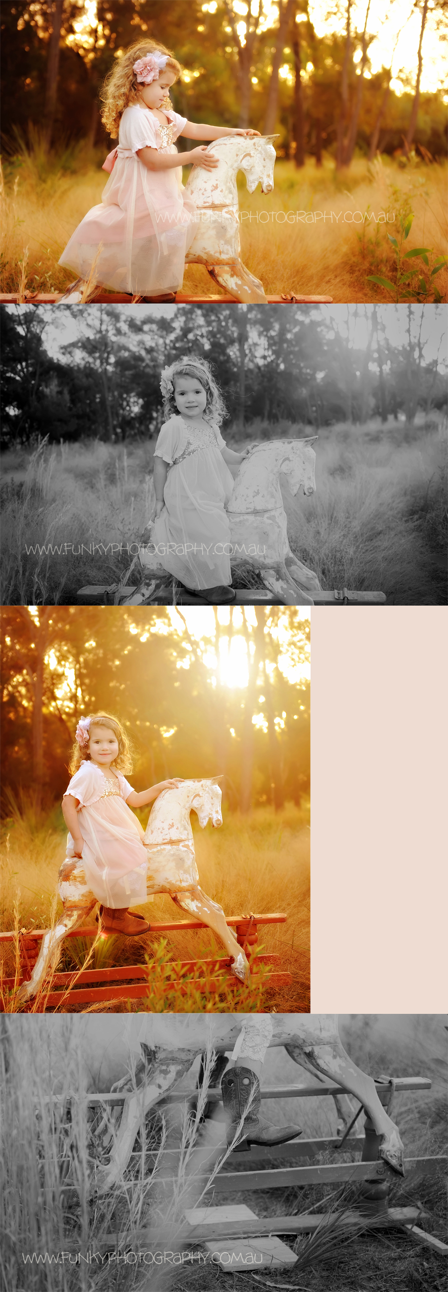 child on a rocking horse with sunflare and backlight