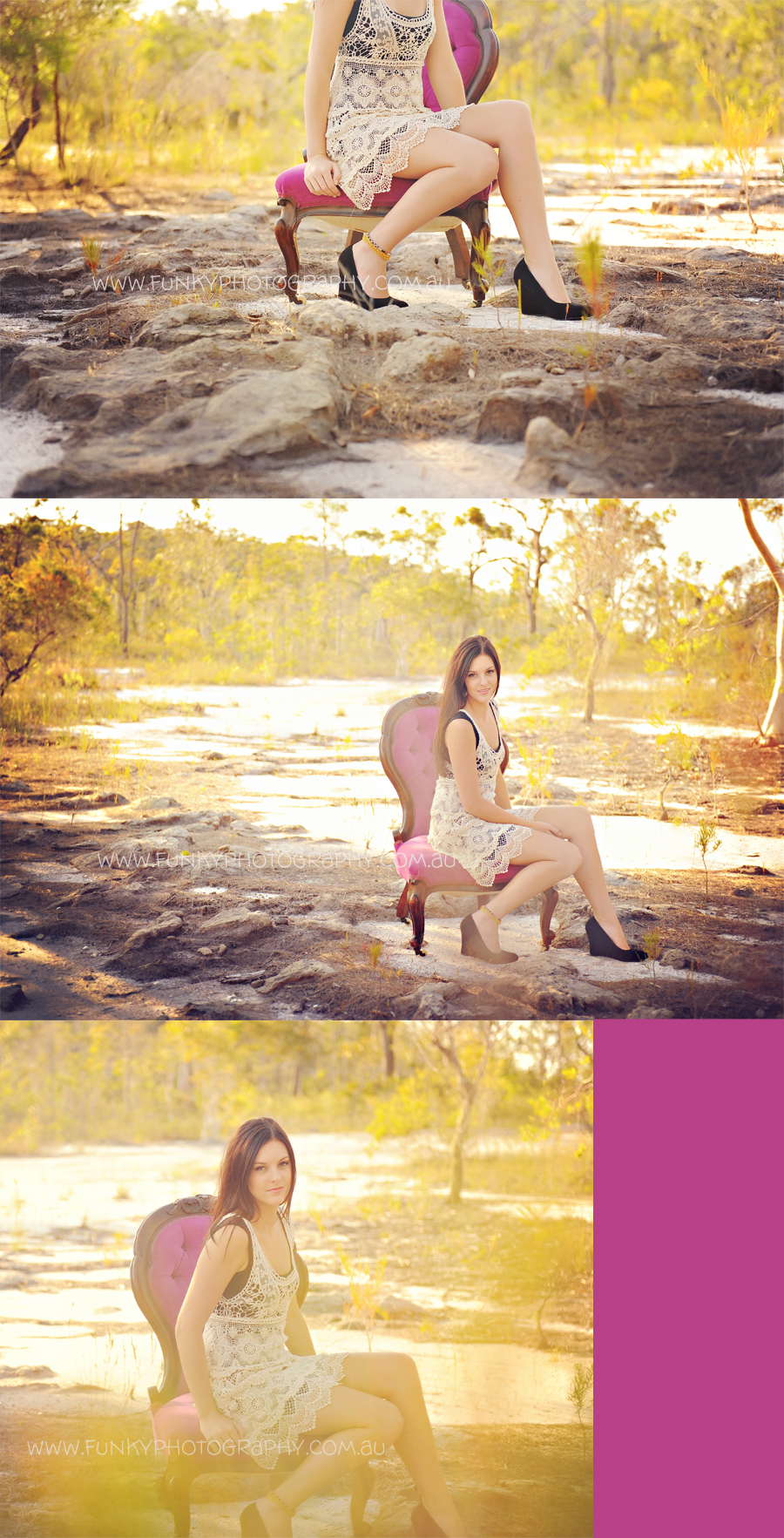 girl sitting on a chair in a field, backlighting