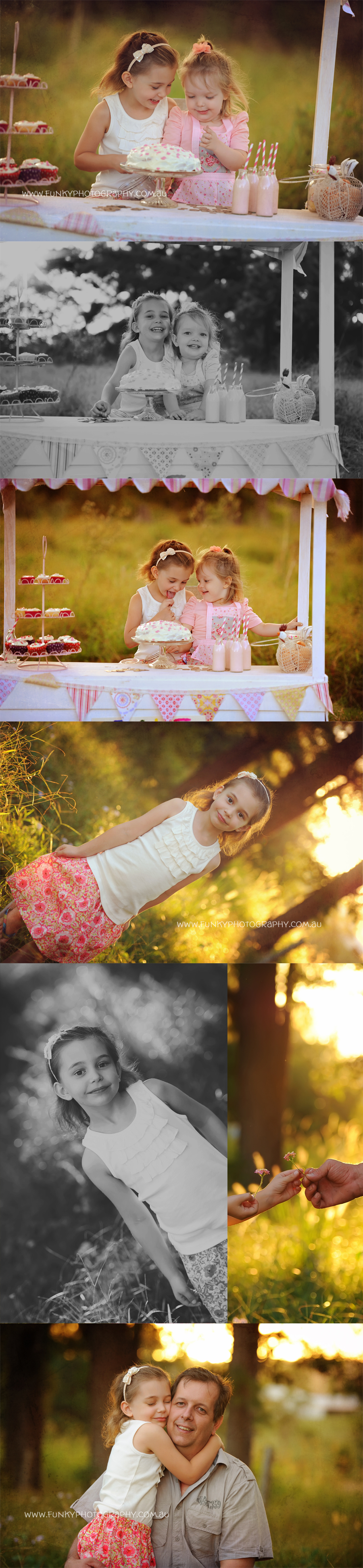 vintage cake stall photography props with bunting