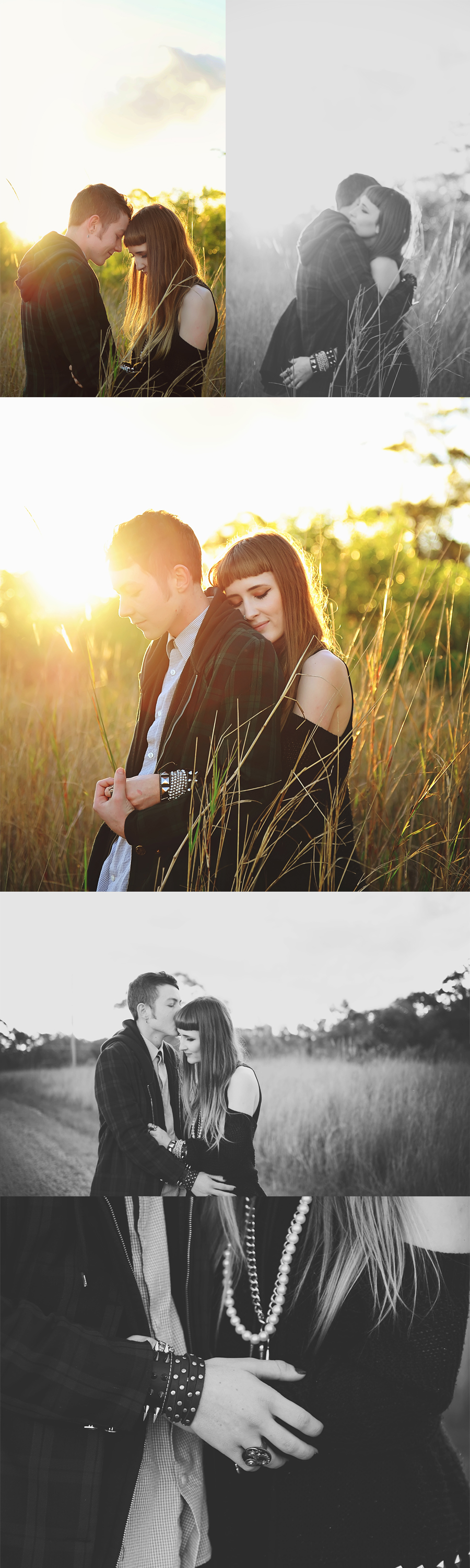photograph of couple in field with backlight sunset