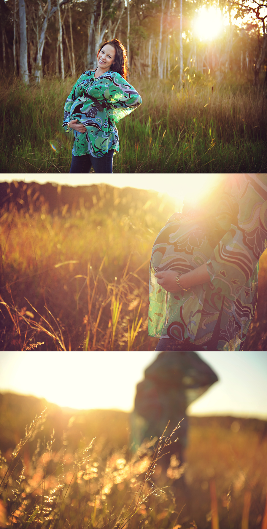 pregnancy photos in a field sunflare sunset