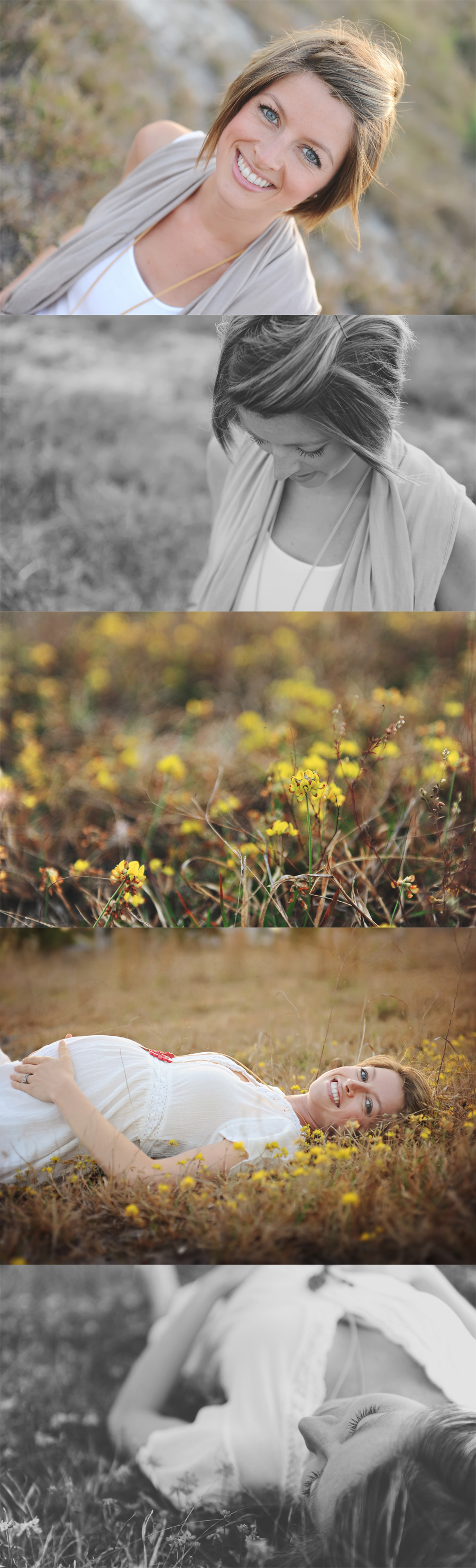 pregnant woman in field of yellow flowers