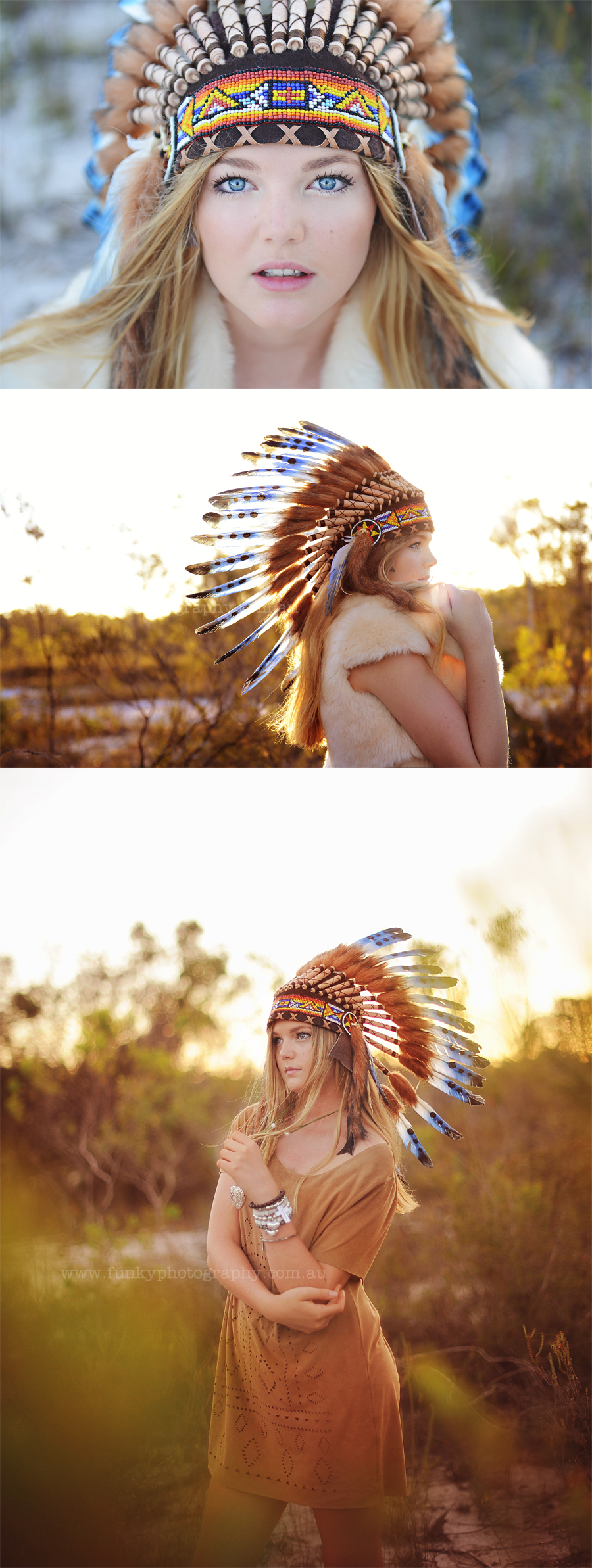 girl in indian headdress